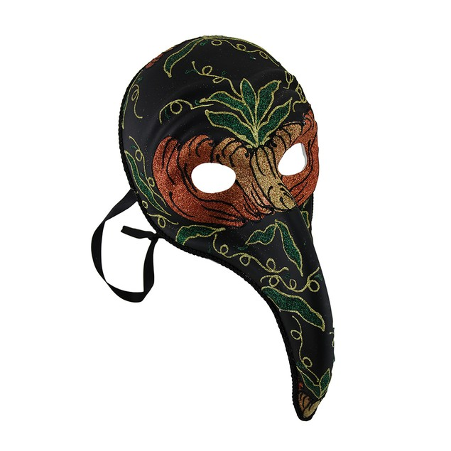 Black Plague Doctor Style Long Curved Nose Fancy Womens Costume Masks