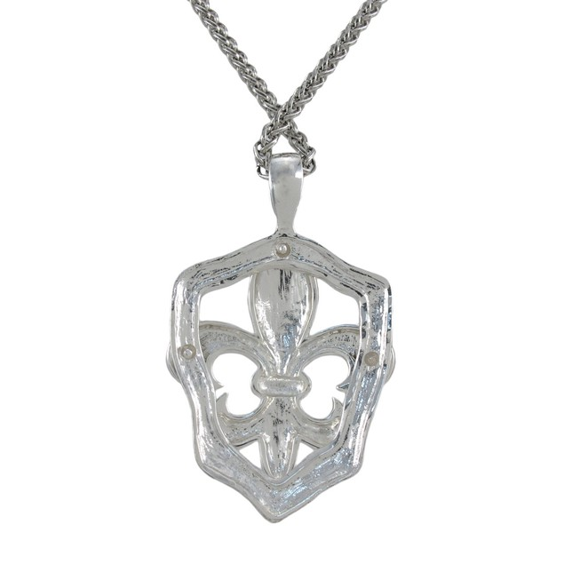 Silvertone Fleur De Lis Necklace And Dangle Womens Earring And Necklace