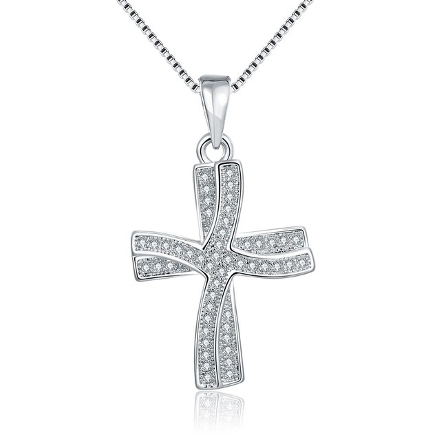Italian White Gold Plated Cross Necklace