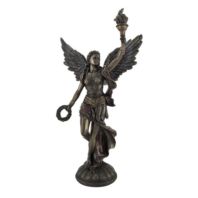 Bronzed Nike Goddess Of Victory Raising Torch Statues
