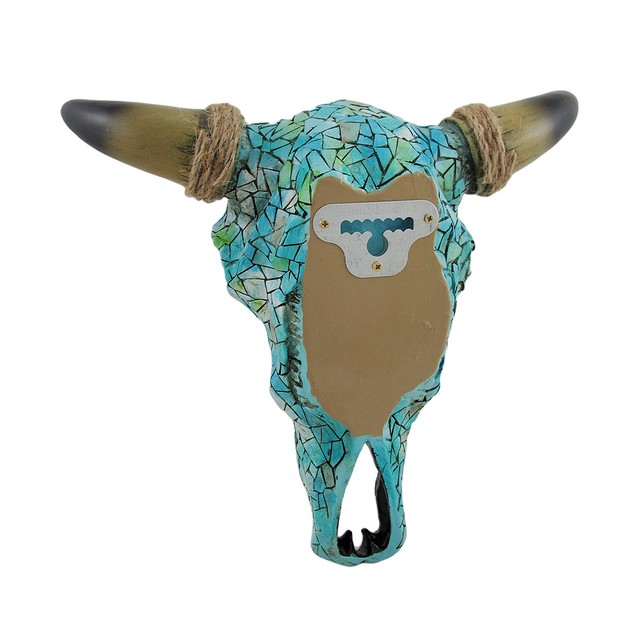 Mosaic Turquoise Steer Skull Wall Hanging Wall Sculptures