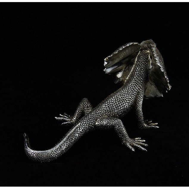 Silvery Metallic Frilled Neck Lizard Statue 10 In. Statues