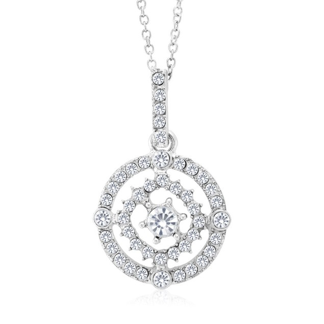 Cubic Zirconia Double Halo Pendant Necklace