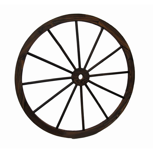 Wooden Wagon Wheel Decorative Wall Hanging 32 In. Wall Sculptures