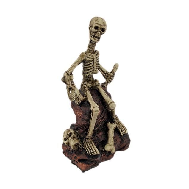 Creepy Skeleton Sitting On Rocks Statue Figure Statues