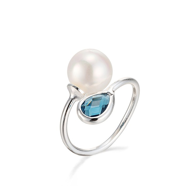 White Gold Plated Petite Sapphire & Pearl Ring