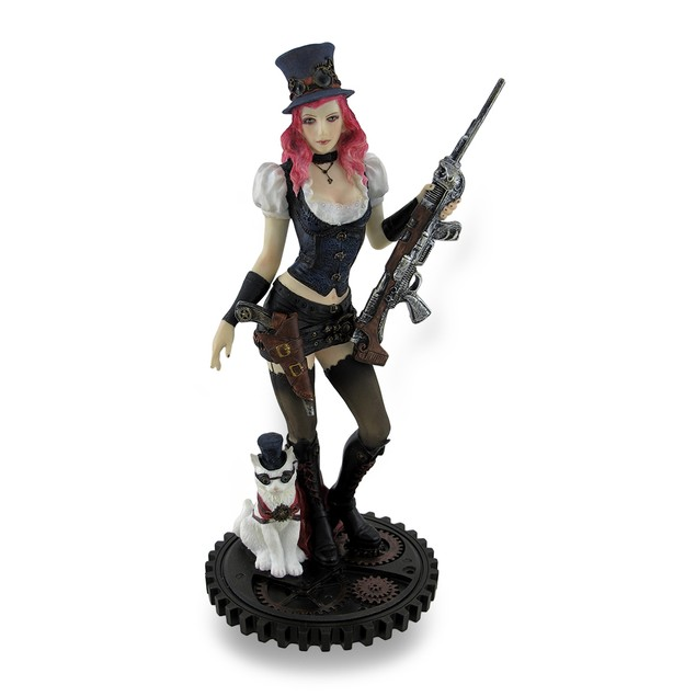 Victorian Steampunk Woman Standing W/Cat And Rifle Statues