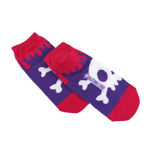Pink And Purple Skull And Crossbones Ankle Socks Womens Casual Socks