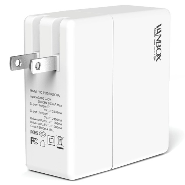VanBox 32W 4-Port USB Travel Wall Charger