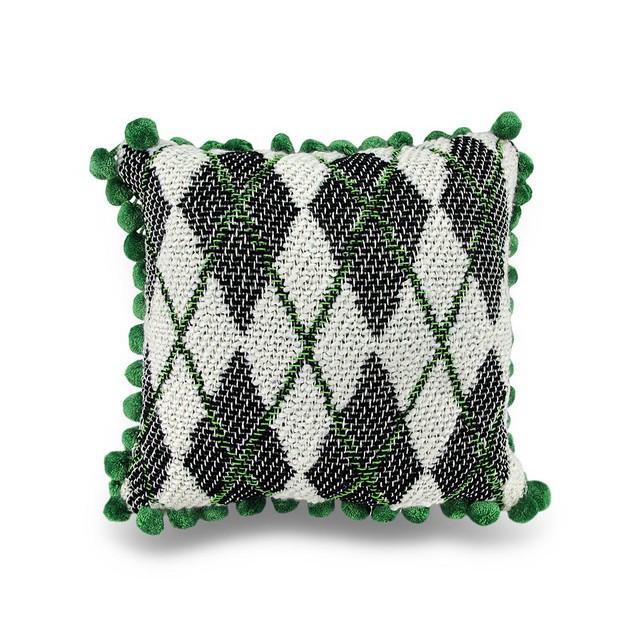Green, Black And White Argyle Ball Fringe Accent Throw Pillows