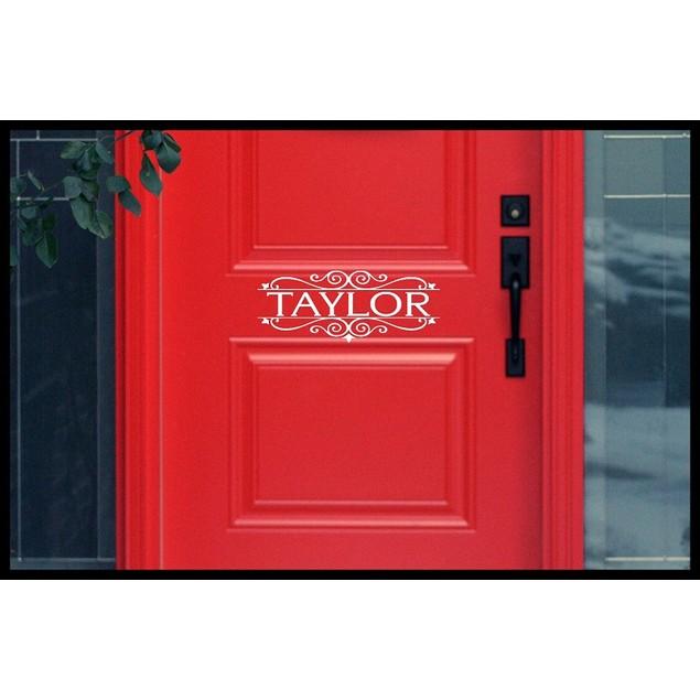 Family Name Vinyl Door Decal