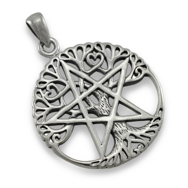 Sterling Silver Tree Of Life Pentacle Pendant Individual Pendants
