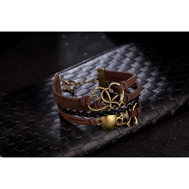 Brown & Black Intertwined Skulls Bracelet