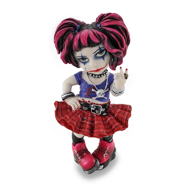 Cosplay Kids Mini Goth Punk Girl Giving Peace Sign Statues