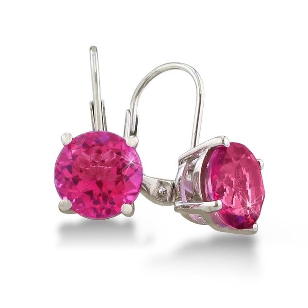 Huge 5ct Round  Pink Sapphire Leverback Earrings in Sterling Silver