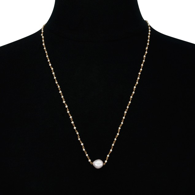 """24"""" Gold Tone Dainty Pearl Strand Necklace"""