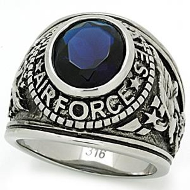 """Men's Stainless Steel """"United States Air Force"""" Sapphire Blue Ring"""