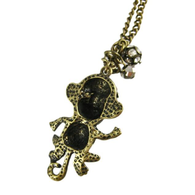 Bronze Finish Rhinestone Monkey Link Necklace Womens Pendant Necklaces
