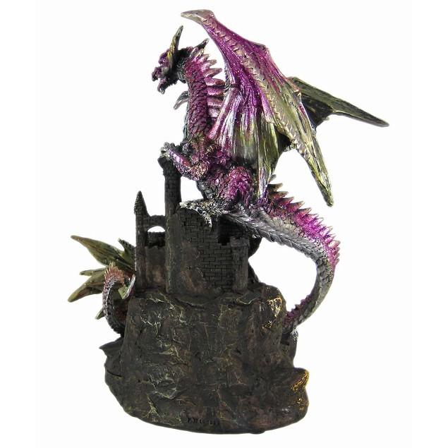 Metallic Gothic Double Dragon Geode Statue Figure Statues