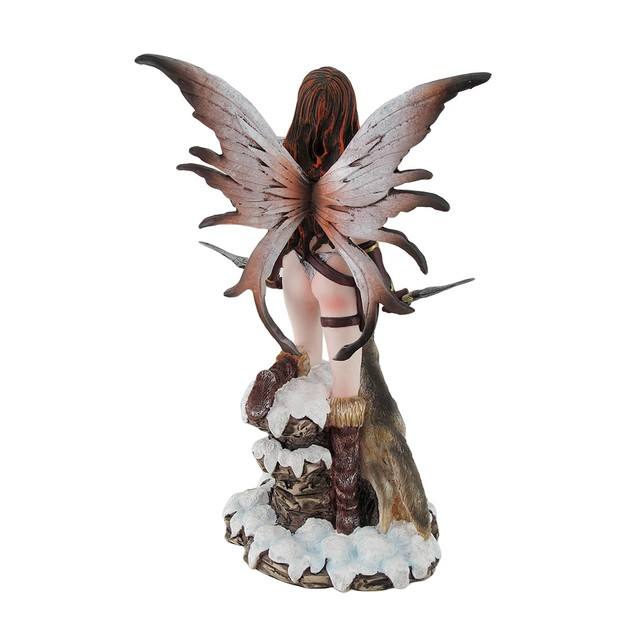 Snow Fairy Warrior And Howling Wolf Familiar Statues