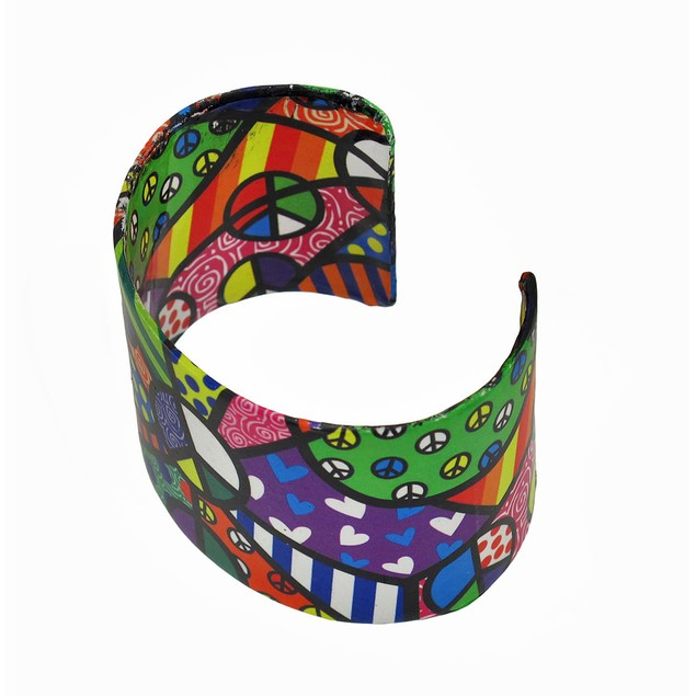 Colorful Paper Artwork Peace Themed Metal Cuff Womens Cuff Bracelets
