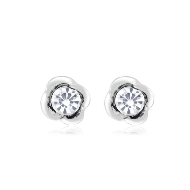 Flower Cubic Zirconia Stud Earrings