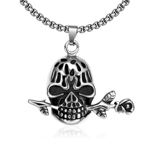 Alpha Steel Skull's Rose Emblem Stainless Steel Necklace