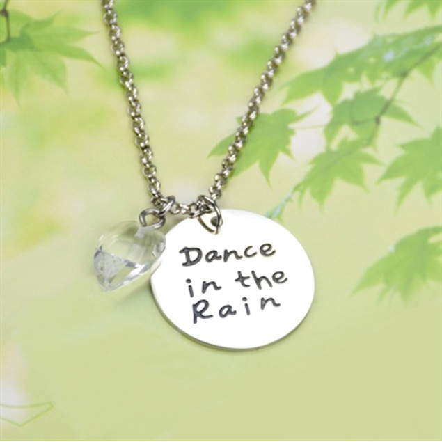 "Engraved ""Dance in the Rain"" Pendant Necklace"