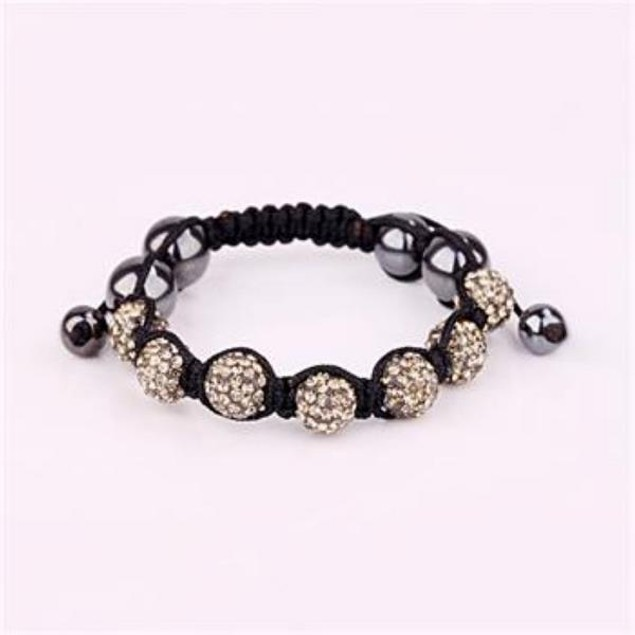 80's Glam Six Beads Austrian Crystal Bracelet - Dark Crystal