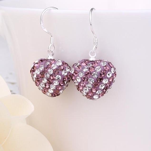 Two Toned Austrian Stone Hearts Drop Earrings -Light Lavender