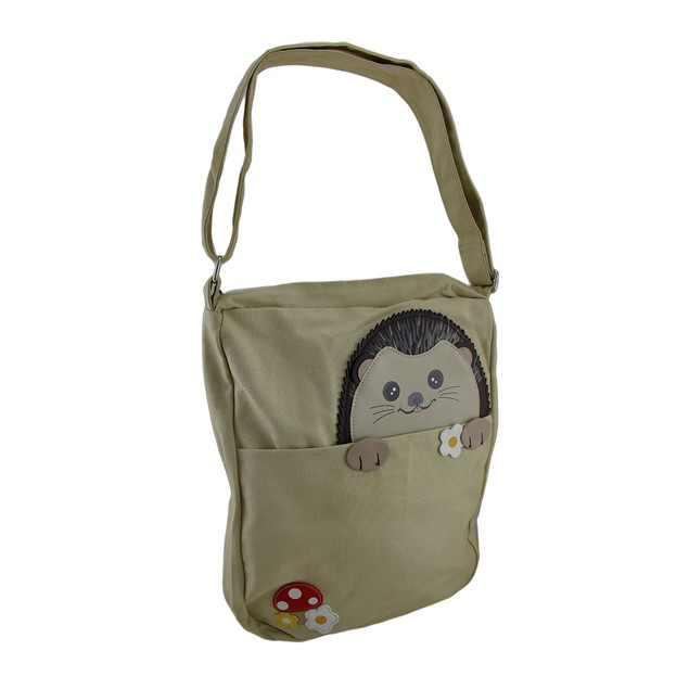 Sleepyville Critters Peeking Hedgehog Canvas Cross Womens Cross Body Bags
