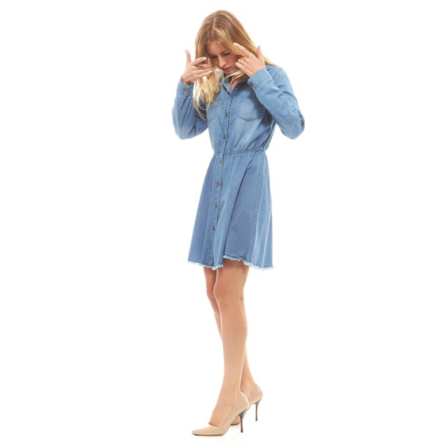 Red Jeans Women's Soft Button Up Hooded Denim Dress (S-3X)