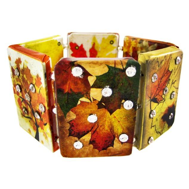 Paper Artwork Autumn Leaf Rhinestone Stretch Womens Bangle Bracelets