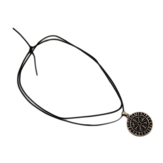 Norse Vegvisir Symbol  Bronze Finish Pewter Mens Pendant Necklaces