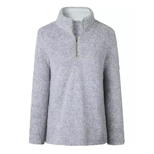 Zip Up Top Fleece Pullover - 4 Colors