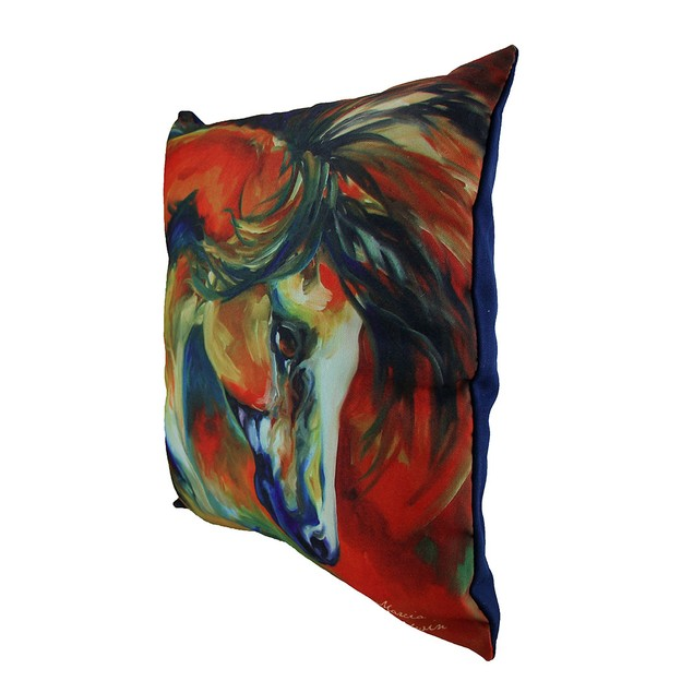 Marcia Baldwin Mustang West Colorful Throw Pillow Throw Pillows