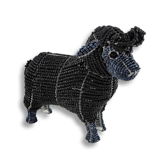 Beadworx Black Glass Bead Sheep Sculpture Statues