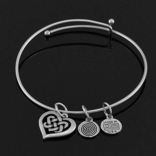 Celtic Heart Silver Plated Expandable Charm Womens Clasps Bracelets