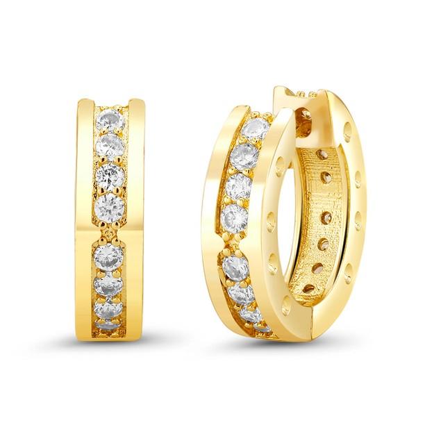 18kt Yellow Plain Elegant  Goldtone Cubic zirconia  Huggie Earrings