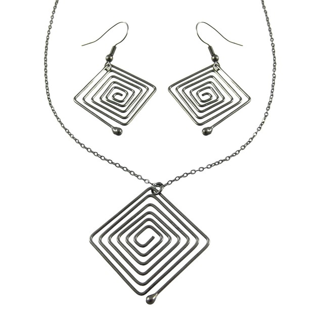 Gunmetal Wire Square Necklace / Earrings Set Womens Earring And Necklace