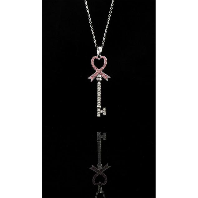 Breast Cancer Awareness Rhinestone Pink Ribbon Key Pendant Necklaces