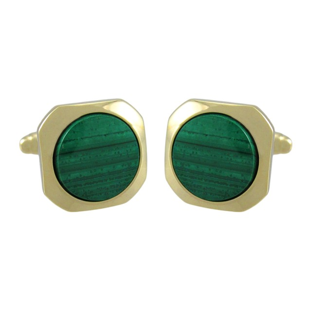 Gold Plated Malachite Cufflinks Formal Mens Cuff Links