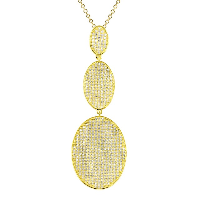 18K Gold Plated Simulated Diamond Micro Pave Triple Tier Oval Necklace