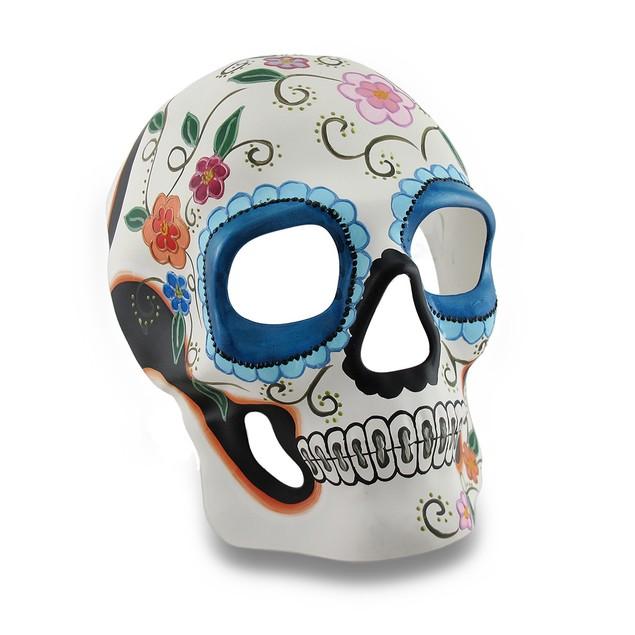 Colorful White And Blue Floral Dod Sugar Skull Mens Costume Masks