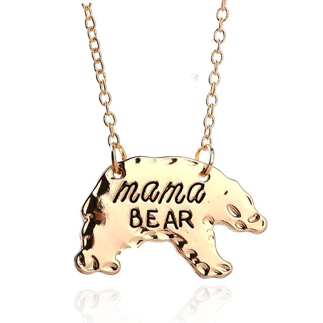 Gold Plated Mama Bear Necklace