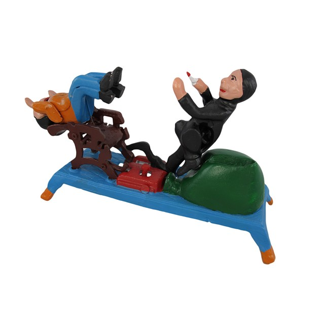 Funny Pulling Teeth Cast Iron Mechanical Bank Toy Banks