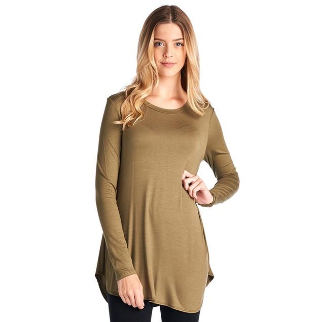 Ladies Rayon Spandex Super Comfy Long Sleeves Round Hem Tunic