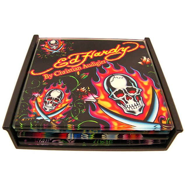 Set Of 4 Ed Hardy `Skulls` Black Glass Coasters Coasters