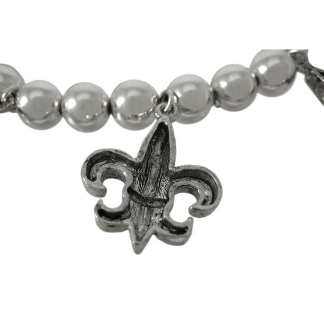 Dangling Fleur De Lis Chrome Plated Stretch Womens Charm Bracelets