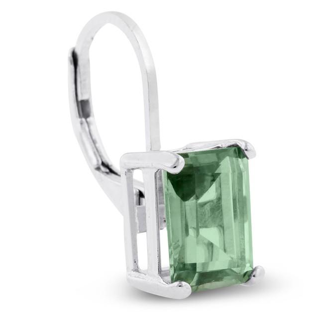 4 1/2 Carat Emerald Shape Green Amethyst Leverback Earrings